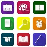10 eps w pełni ikony szkolna ustalona przezroczystość Obrazy Stock