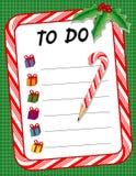 +EPS Weihnachten, zum der Checkliste u. des Zuckerstange-Bleistifts zu tun Stockfoto