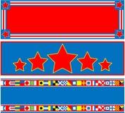 EPS8 rote weiße blaue Fahnen des Vektor3 mit Exemplar-Badekurort Lizenzfreies Stockbild