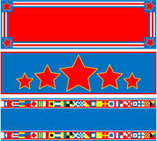 EPS8 Vector 3 Red White Blue Banners with Copy Spa Royalty Free Stock Image