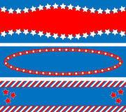 EPS8 Vector 3 Red White Blue Star Striped Backgrou. EPS8 Vector 3 Red, White and blue patriotic frames or border backgrounds with stars, stripes and copy space Stock Photos