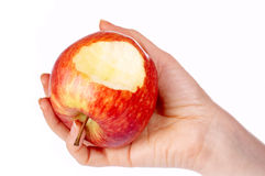 δαγκωμένο μήλο κόκκινο χ&epsil Στοκ φωτογραφία με δικαίωμα ελεύθερης χρήσης