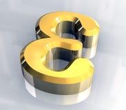 Epsilonsymbol im Gold (3d) Stockfoto