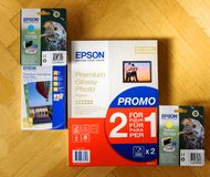 Epson Claria ink and Epson paper online shopping Royalty Free Stock Images