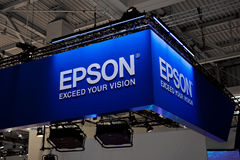 Epson company logo sign on exhibition fair Cebit 2017 in Hannover Messe, Germany Royalty Free Stock Photo