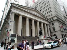 Federal Hall on Wallstreet in New York City. New York, New York / United States - June 10 2006:  The Federal Hall museum on Wall Street in Manhattan New York royalty free stock photos