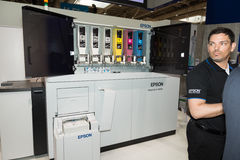 Epson presents paperlab a8000 recycling machine at CeBIT 2017 Royalty Free Stock Image