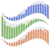 EQ dinamico, elementi dell'equalizzatore per musica ha collegato i concetti illustrazione vettoriale