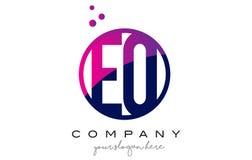 EQ E Q Circle Letter Logo Design with Purple Dots Bubbles Stock Images