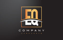 EQ E Q Golden Letter Logo Design with Gold Square and Swoosh. Stock Images