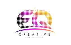 EQ E Q Letter Logo Design with Magenta Dots and Swoosh Stock Photos