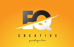 EQ E Q Letter Modern Logo Design with Yellow Background and Swoo. EQ E Q Letter Modern Logo Design with Swoosh Cutting the Middle Letters and Yellow Background Stock Image