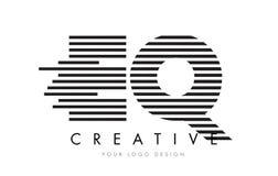 EQ E Q Zebra Letter Logo Design with Black and White Stripes Stock Photography