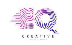 EQ E Q Zebra Lines Letter Logo Design with Magenta Colors Stock Photos