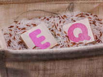 EQ in rice basket Stock Photography