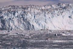 Eqip sermia冰川格陵兰 图库摄影
