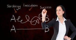 Equação da escrita da mulher de negócios fotografia de stock