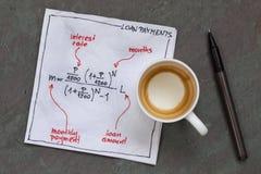 Equação do pagamento de empréstimo fotografia de stock royalty free