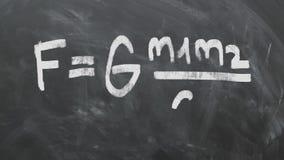 Equação gravitacional 1080p 60fps da lei do ` s de Isaac Newton video estoque