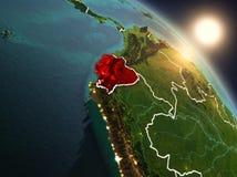 Equador do espaço durante o nascer do sol Fotos de Stock Royalty Free