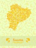 Equador map made of bananas. Veggie illustration. Seamless pattern. Stock Photography