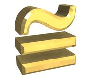 Equal circa math symbol in gold royalty free illustration