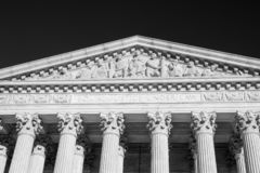 Free Equal Justice Under Law Inscription At Top Of The United States Supreme Court Building In Black And White Royalty Free Stock Image - 161299326