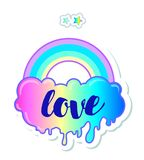 Equal love. Inspirational Gay Pride poster with rainbow and clou Royalty Free Stock Images
