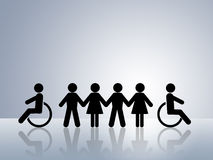 Equal opportunities disabled wheelchair equality. Paper chain figures concept for equal rights and opportunities for all women man disabled  in wheelchair black Royalty Free Stock Photo