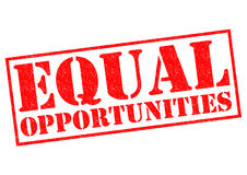 EQUAL OPPORTUNITIES. Red Rubber Stamp over a white background Royalty Free Stock Image