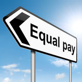Equal pay concept. Illustration depicting a roadsign with an equal pay concept. Sky background Stock Images