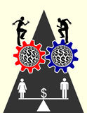 Equal Pay. Concept sign voting for equal payment for men and women Stock Images