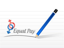 Equal pay message sign illustration. Design over a white background Stock Photo