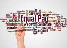 Equal pay word cloud and hand with marker concept. On gradient background stock image