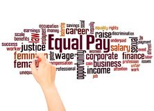 Equal pay word cloud and hand writing concept. On white background royalty free stock image