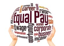 Equal pay word cloud sphere concept. On white background stock images