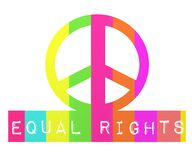Equal rights. Collorful equal rights rainbow peace sign Stock Images