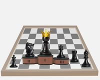 Equal rights in competition. A pawn has become king. stock photography
