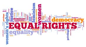 Equal rights concept. Equal rights for women - feminism concept word cloud vector illustration