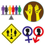 Equal Rights. Concept signs for the demand for gender equality for everybody, vector set Royalty Free Stock Photo