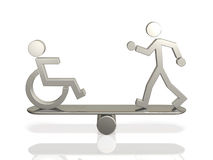 Equal rights of people with disabilities and able. Bodied person.This is a computer generated image,on white background Stock Photo