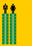 Equal salary for man and woman stock illustration