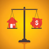 Equal saving money for  purchase home. Weighing home and saving money concept , compare the value of home and saving money vector Stock Photos