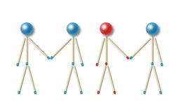 Equal and unequal partnership. Four little men made of blue and red matches and balls shaking their hands representing an equal and unequal partnership Royalty Free Stock Photos