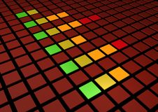 Equaliser. Colorful perspective view of a Graphic Equalizer display Royalty Free Stock Photography
