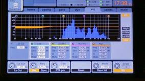 Equaliser op de monitor correcte mixer tijdens verrichting stock footage