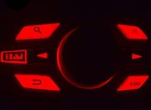 Equaliser van een van het auto audiosysteem rode en zwarte foto als achtergrond Stock Fotografie