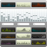 Equalisers. Various equaliser graphics in different color mode stock illustration