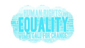 Equality Animated Word Cloud. On a white background vector illustration