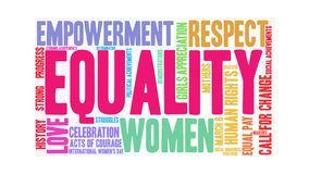 Equality animated word cloud. On a white background royalty free illustration
